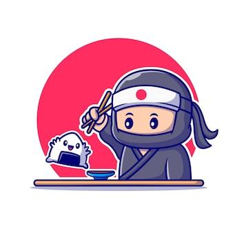 Ninja carino mangiare onigiri con il fumetto di bacchette. persone cibo icona concetto isolato. stile cartone animato piatto