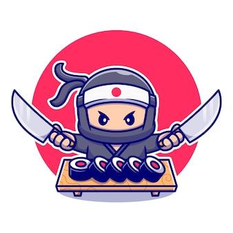 Carino ninja tenendo coltello con sushi cartoon. persone cibo icona concetto isolato. stile cartone animato piatto