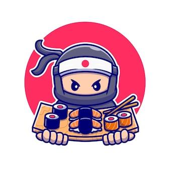 Ninja carino con il fumetto di sushi. persone cibo icona concetto isolato. stile cartone animato piatto
