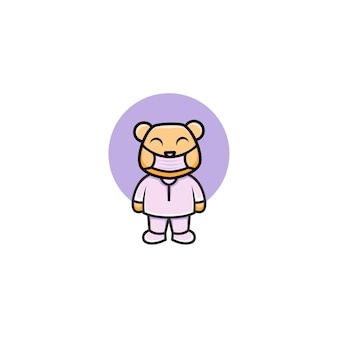 Simpatico orso infermiera che indossa una maschera
