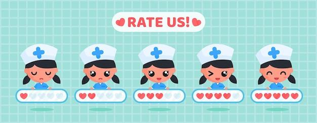 Simpatico personaggio infermiere che tiene una scheda di valutazione dell'amore per il sondaggio sulla soddisfazione dei clienti del servizio sanitario