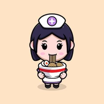 Infermiera carina che mangia l'illustrazione del personaggio dei cartoni animati di kawaii con noodle ramen