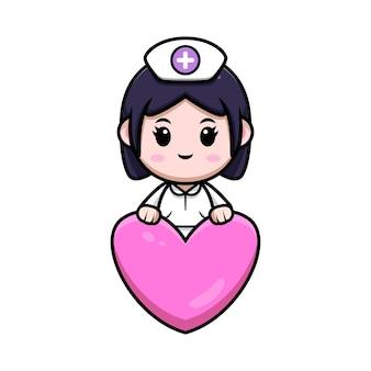 Infermiera carina dietro l'illustrazione del personaggio dei cartoni animati di cuore kawaii