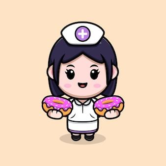 Infermiera carina che tiene ciambelle kawaii personaggio dei cartoni animati illustrazione