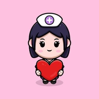 Infermiera carina che tiene illustrazione del personaggio dei cartoni animati di kawaii di vettore del cuore cute