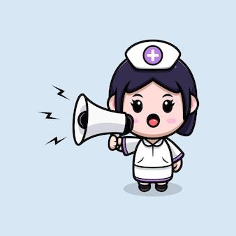 Infermiera carina che parla sull'illustrazione del personaggio dei cartoni animati kawaii megafono