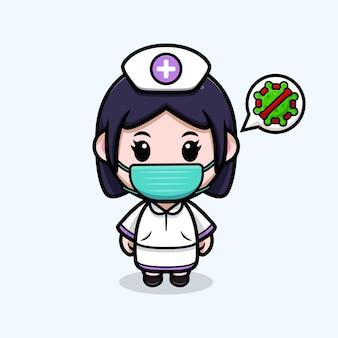 Infermiera carina che indossa una maschera per prevenire l'illustrazione del personaggio dei cartoni animati di kawaii del virus