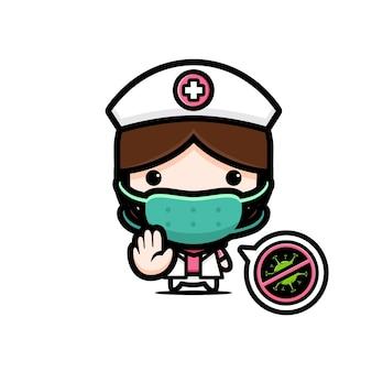 Infermiera carina che indossa una maschera con una posizione di arresto del virus