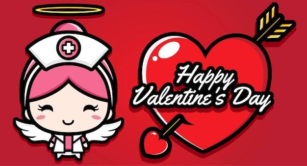 Infermiera carina con auguri di buon san valentino Vettore Premium