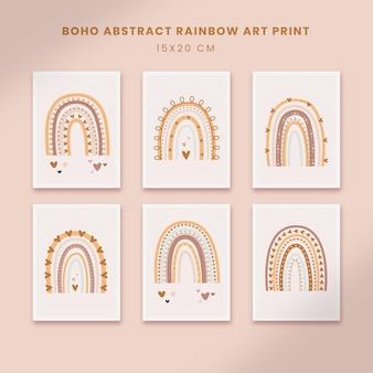Simpatici poster astratti per la scuola materna arte forme disegnate a mano copertine con arcobaleno boho