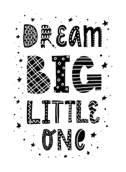Citazione di vivaio carino 'sogna grande piccolo'