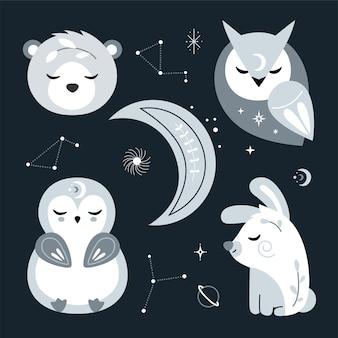 Simpatico vivaio con animali della foresta, stelle. illustrazione.
