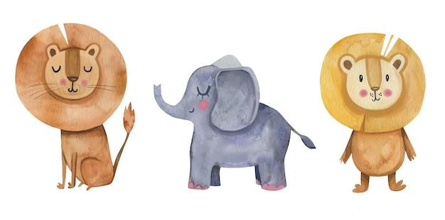 Clipart animale dell'acquerello della scuola materna sveglia con leoni e l'elefante.