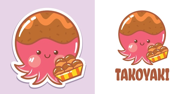 Un simpatico personaggio dei cartoni animati di polpo takoyaki logo e illustrazione della mascotte