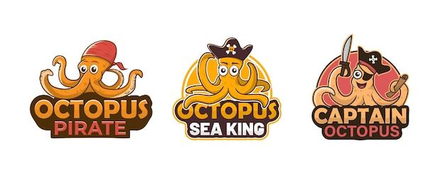 Collezione di logo del personaggio mascotte dei cartoni animati di polpo carino