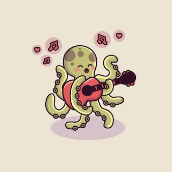Carattere di polpo carino suonare la chitarra con tema san valentino