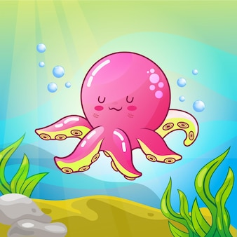 Illustrazione di polpo carino nel mondo sottomarino