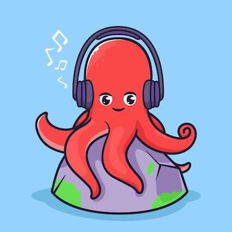 Il polpo carino ascolta l'illustrazione della musica