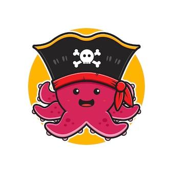 Simpatico polpo pirata mascotte personaggio logo fumetto icona illustrazione piatto stile cartone animato design