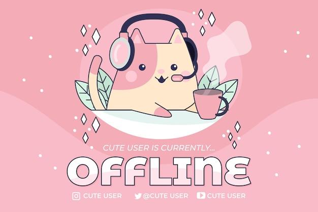Banner di twitch offline carino con gatto