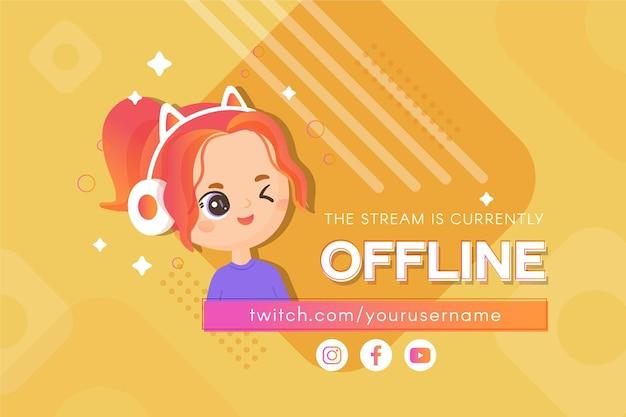 Simpatico banner twitch offline con personaggio