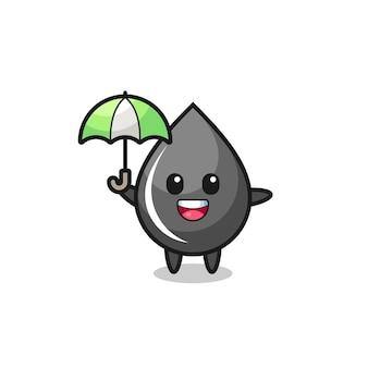 Simpatica illustrazione goccia d'olio che tiene un ombrello, design in stile carino per t-shirt, adesivo, elemento logo