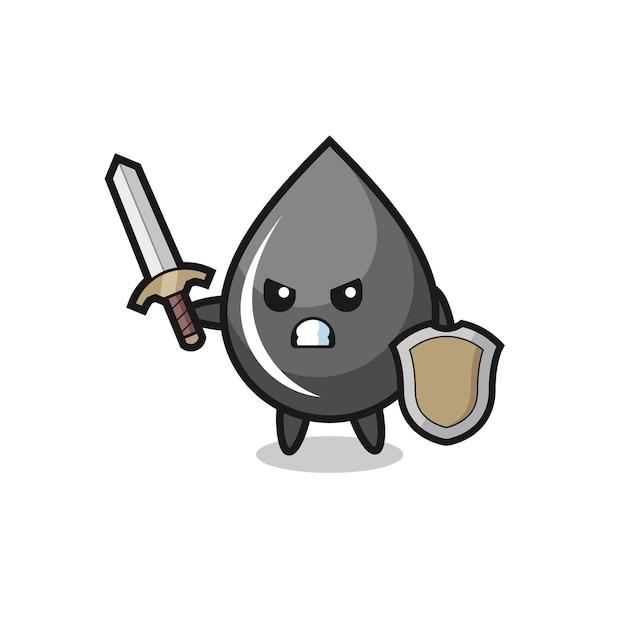 Simpatico soldato goccia d'olio che combatte con spada e scudo, design in stile carino per t-shirt, adesivo, elemento logo