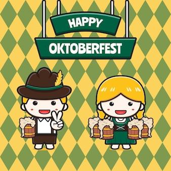 Illustrazione sveglia dell'icona del fumetto dell'insegna di celebrazione dell'oktoberfest. design piatto isolato in stile cartone animato