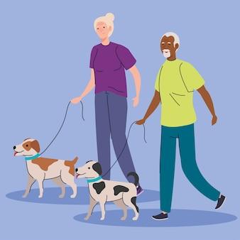 Vecchie coppie sveglie che camminano con l'illustrazione delle mascotte dei cani