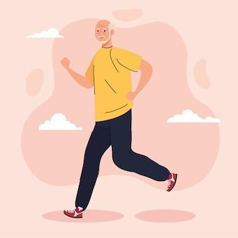 Uomo anziano sveglio che cammina, illustrazione di ricreazione di sport Vettore Premium