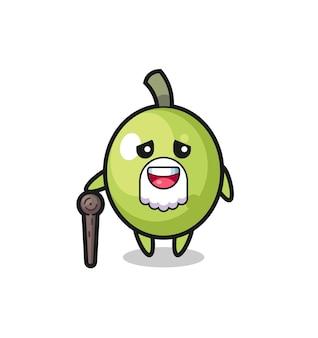 Il simpatico nonno oliva tiene in mano un bastone, un design in stile carino per maglietta, adesivo, elemento logo