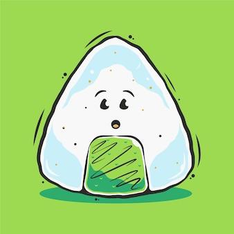 Illustrazione sveglia del fumetto dei sushi di onigiri