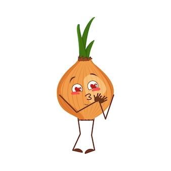Il simpatico personaggio di cipolla si innamora di occhi, cuori, braccia e gambe. l'eroe divertente o sorridente, vegetale. illustrazione piatta vettoriale