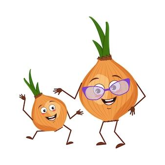 Simpatici personaggi di cipolla divertenti nonna e nipote, braccia e gambe. l'eroe divertente o felice, vegetale. illustrazione piatta vettoriale