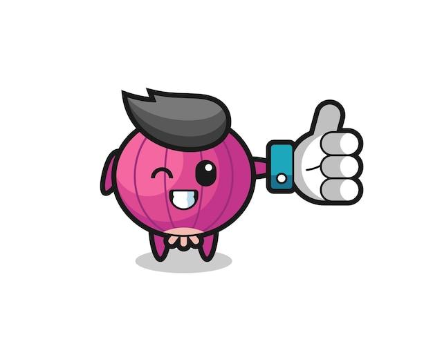 Cipolla carina con il simbolo del pollice in alto sui social media, design in stile carino per maglietta, adesivo, elemento logo
