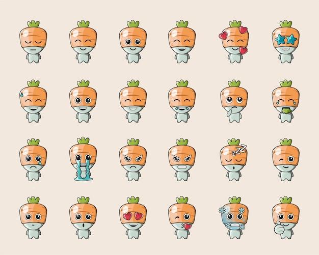 Simpatica emoticon vegetale di carota arancione, per logo, emoticon, mascotte, poster