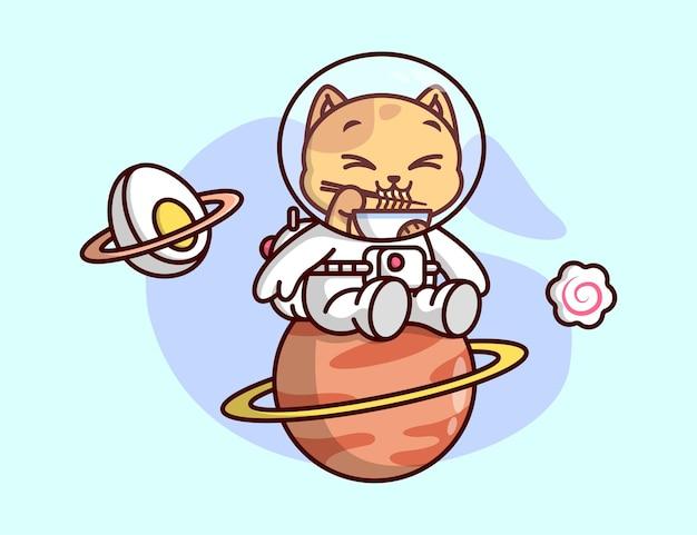 Sveglio gatto arancione che mangia ramen nel suo abito da astronauta sveglia illustrazione.
