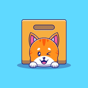 Simpatico gatto arancione che fa l'occhiolino sotto l'illustrazione della scatola. gatto mascotte personaggi dei cartoni animati animali icona concetto isolato.