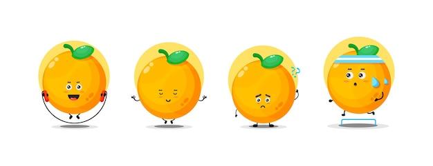 Simpatica collezione di personaggi arancioni