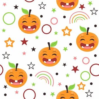 Illustrazione del modello di frutta arancione carino