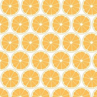 Modello senza cuciture di fetta di frutta arancione carino sfondo vettoriale di frutta arancione