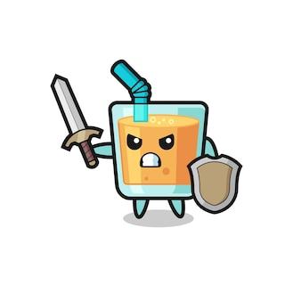 Simpatico soldato di succo d'arancia che combatte con spada e scudo, design in stile carino per maglietta, adesivo, elemento logo
