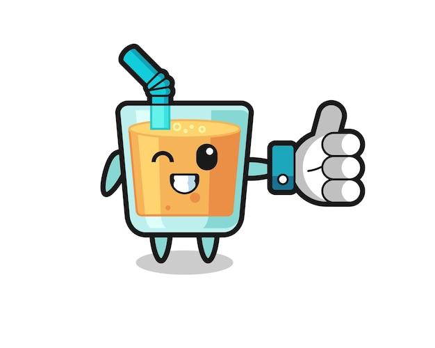 Succo d'arancia carino con il simbolo del pollice in alto sui social media, design in stile carino per maglietta, adesivo, elemento logo