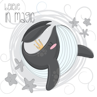 Illustrazione disegnata a mano orca carino