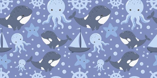 Simpatico motivo orca senza cuciture per carta da parati in tessuto per bambini e molti altri