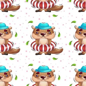Una lontra carina in un salvagente diventa modello