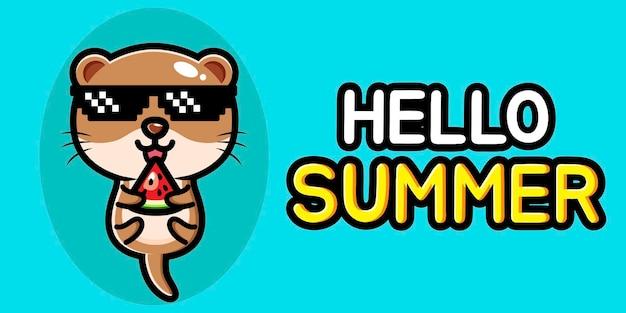 Lontra carina con banner di auguri estivi
