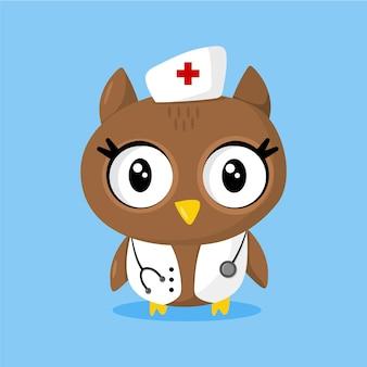 Simpatico gufo come infermiera con lo stetoscopio
