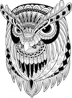 Uccello carino gufo in stile zentangle Vettore Premium