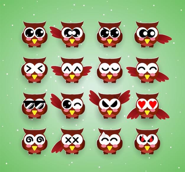 Emozione di kawaii gufo carino, emoji, halloween